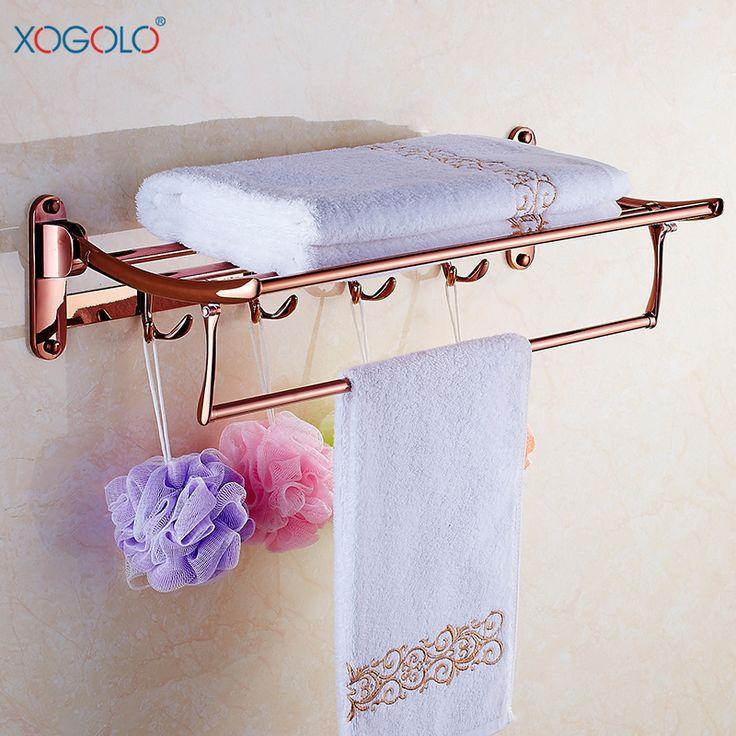 Купить товарXogolo континентальный розового золота складной вешалка для полотенец ванной вешалка для полотенец античная нержавеющей стали аксессуары для ванной комнаты в категории Вешалки для полотенецна AliExpress.