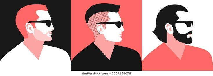 Set Of Abstract Man Portraits Profile Face Male Characters With Different Hair Haircuts For Men Trendy Mens Haircuts Medium Length Hair Men