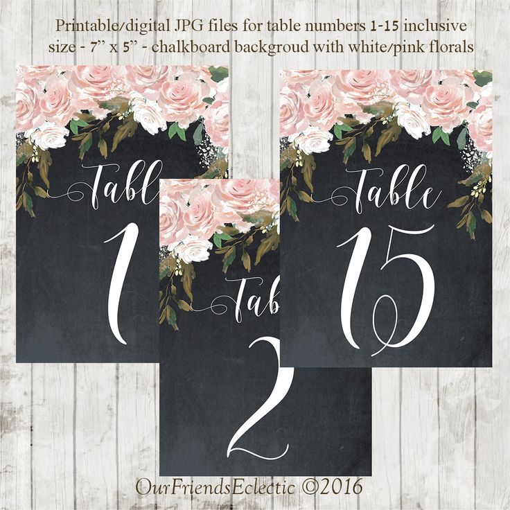 Printable chalkboard table numbers, printable wedding table numbers 1-15, pink roses table numbers, you print, 7x5, instant download by OurFriendsEclectic on Etsy