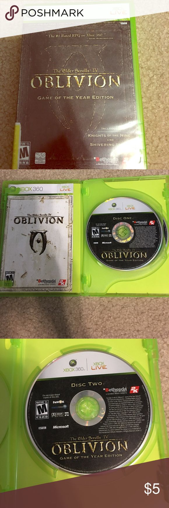 Xbox 360 game Oblivion The Elder Scrolls 4 Xbox 360 game Oblivion The Elder Scrolls IV. #1 rated RPG on Xbox 360. Pre-owned. Comes with fold out map. xbox Other