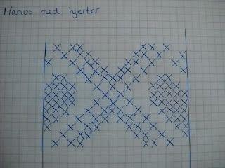 Legger ut bilde av diagrammet jeg brukte på hjertene til kjolen lengre ned.  Har hentet det på strikkesiden (facebook) men jeg husker dessve...