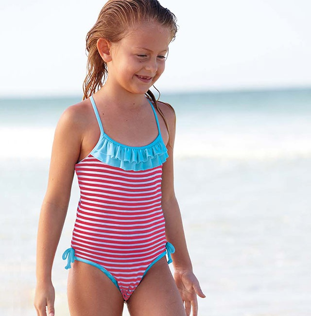 The Cotton One Piece Bathing Suit comes in Red/White w/Aqua or Navy/White w/Hot Pink.  Looking good in stripes!