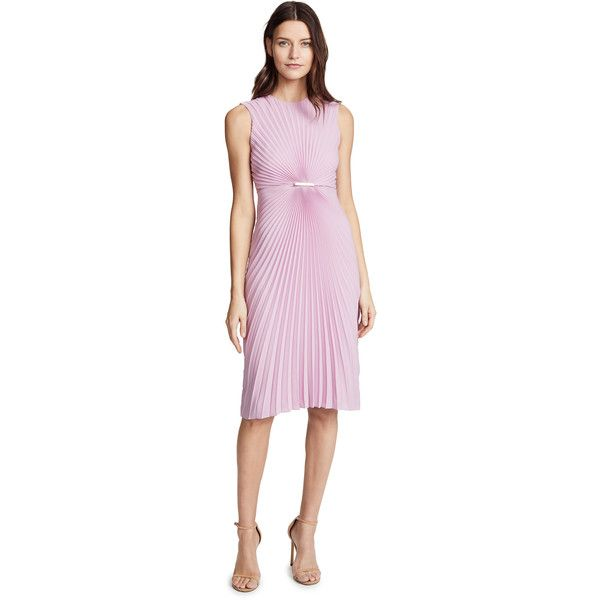 Salvatore Ferragamo Pleated Sleeveless Dress ($1,855) ❤ liked on Polyvore featuring dresses, rhododendron, sleeveless midi dress, midi sheath dress, pink pleated dress, pink sleeveless dress and midi dress