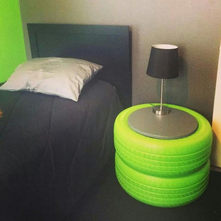 Painted tire night stand