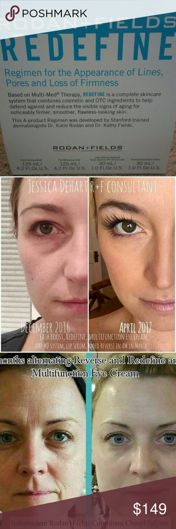 Redefine regimen at consultant price! Limited time Rodan and fields Redefine regimen! Get looking younger with no more wrinkles, fine lines, smoother and more even skin tine DO NOT PURCHASE THIS LISTING!  Will have to purchase through rodan and fields website as preferred customer then reimbursed immediately through paypal. Will get free shipping You have to contact me through fb messager to get you listed and reimbursed. My team going for final month of lexus. Limited spots open for deal…