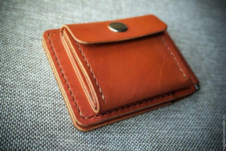 Купить Купюрник с монетницей - рыжий, однотонный, коричневый, кирпичный, терракотовый, натуральная кожа, кожа