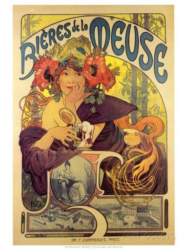 Bières de La Meuse Affiche par Alphonse Mucha sur AllPosters.fr