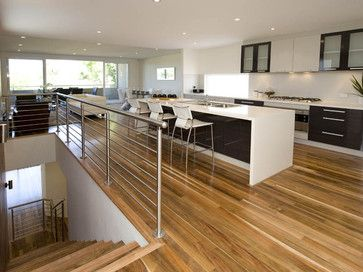 Spotted gum floors, like the black/white kitchen - bench top need a mess hider screen