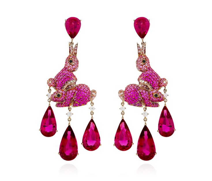 Lydia Courteille pink tourmaline and pink sapphire bunny earrings, from the new Lapin Rose collection