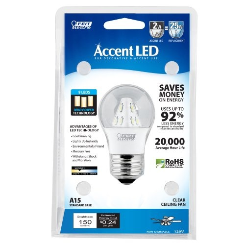 Feit Electric BPA15/CL/LED/RP Accent LED A15 Bulb, Clear at http://suliaszone.com/feit-electric-bpa15clledrp-accent-led-a15-bulb-clear/