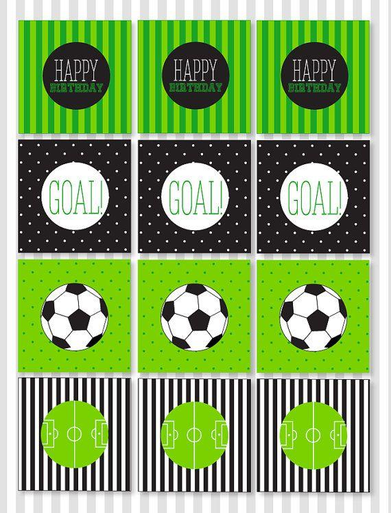 Fútbol imprimible fiesta Cupcake Toppers (descarga inmediata) por amor al día