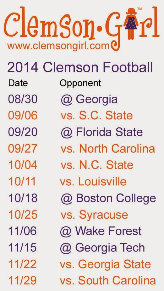 Clemson Girl - 2014 Clemson Football Schedule