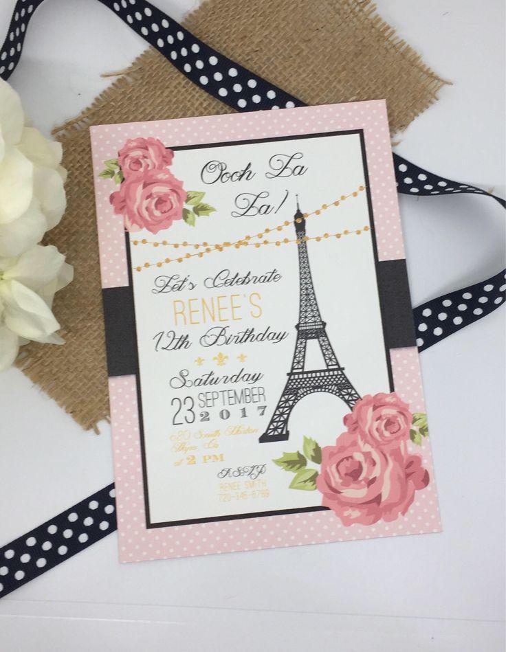 indianjones birthday party invitations printable%0A Paris Birthday Invitations  Pink Paris Party Printable Invitations   French Birthday Party  Printable PDF