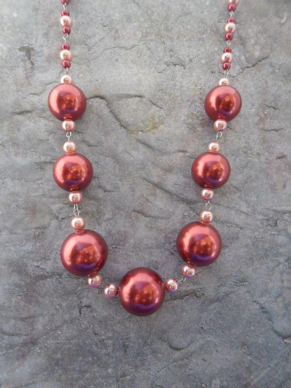 sieraden parels halsketting maken | ... / dames sieraad / rood roze / grote parels / handgemaakte sieraden