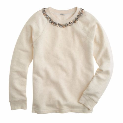 J. Crew Retail Necklace Sweatshirt Heather Natural Ivory Jeweled Large CA$145