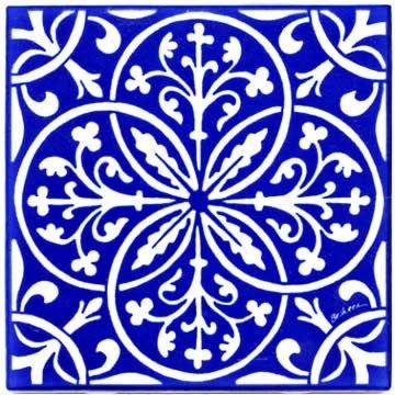 FLEUR-DE-LIS & LEAVES RENAISSANCE TILE - WALL PLAQUE - TRIVET (RT-8) This Cobalt Blue and White tile was Inspired by Historic Renaissance Art Tile... At the dawn of the Renaissance, it was widely bel