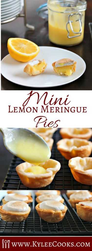 How about these little mini lemon meringue pies? Bite sized, and delicious - easy to make using pie crust, lemon curd and some egg whites, and totally cute!