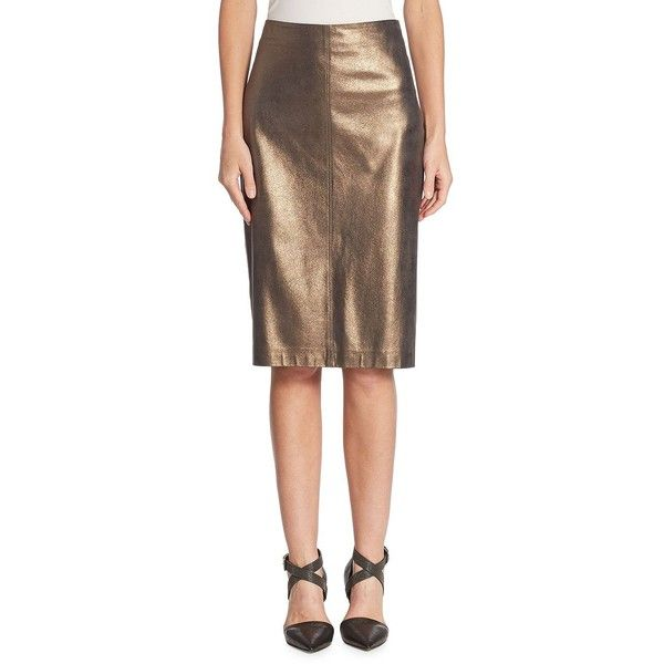 Brunello Cucinelli Metallic Leather Skirt ($2,695) ❤ liked on Polyvore featuring skirts, pull on pencil skirt, brown pencil skirt, leather skirts, slit skirt and brown skirt