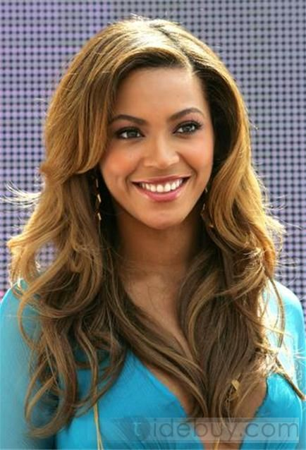 Sexy Charming Beyonce Hairstyle Wavy Blonde Lace Wig about 20 Inches Hand Knotted 100% Human Hair