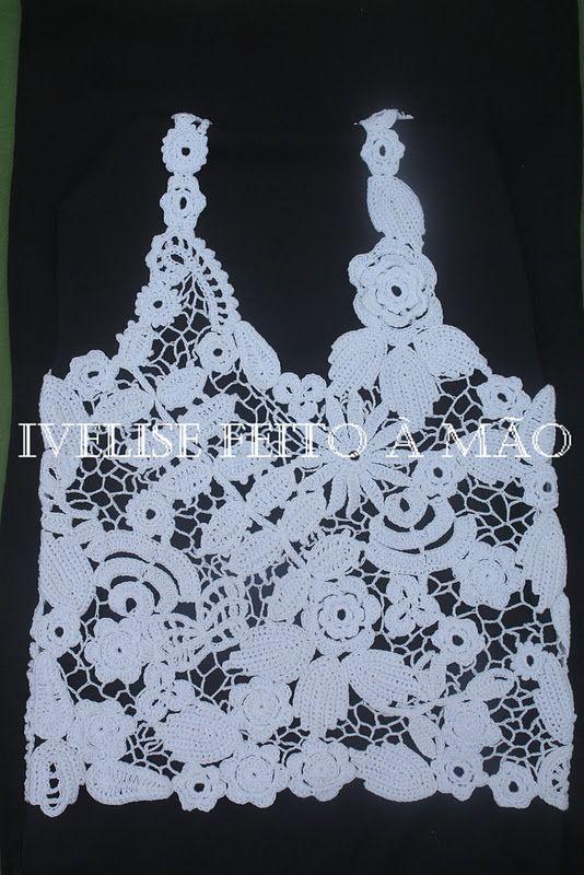 Ivelise Feito à Mão: Meus trabalhos: Regata em Crochê Irlandês: