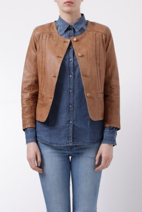 Bully brown leather jacket giacca in pelle color cuoio Bully