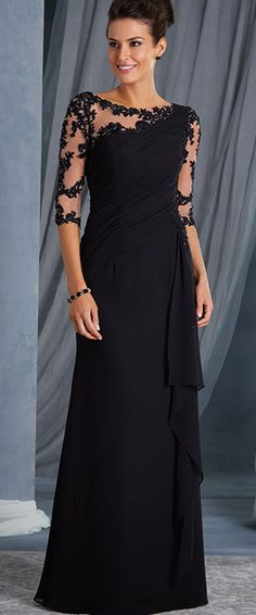 Illusion Bodice 3/4 Length Sleeves Lace Chiffon Long Mother of The Bride Dresses