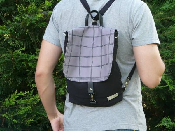 Handmade Canvas Backpack - Grey Plaid Design