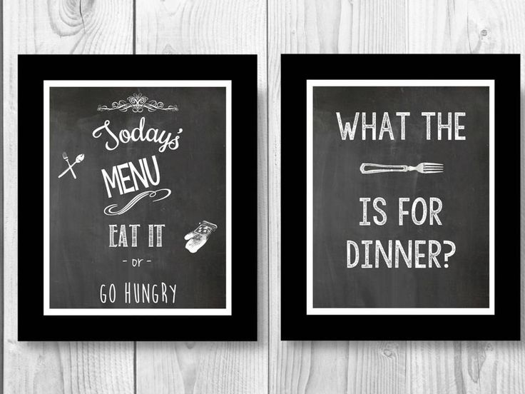 2 Prints What the fork is for dinner? Todays Menu eat it or go hungry BW Wall Art 8x10 Home Decor Chalkboard  Instant Digital Download Print by UnmincedWords on Etsy