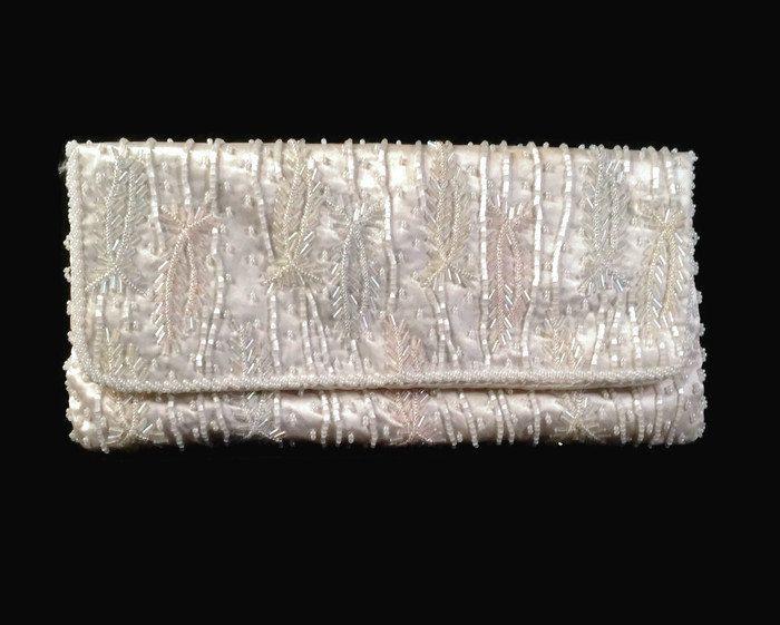 Vintage Clutch Handbag - White Satin Beaded Purse - Vintage Magid Handbag -  Pink - Blue - Yellow https://www.etsy.com/listing/263815113/vintage-clutch-handbag-white-satin?utm_campaign=crowdfire&utm_content=crowdfire&utm_medium=social&utm_source=pinterest