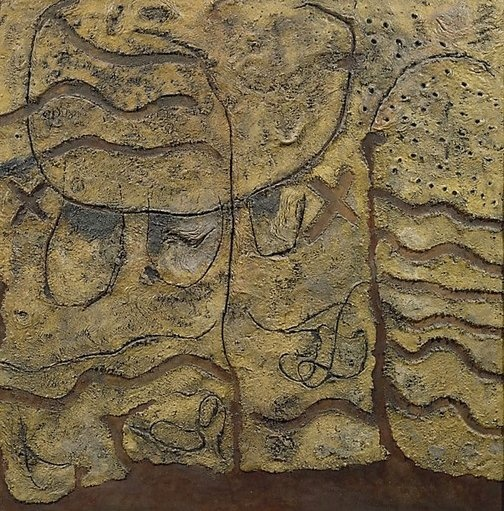 """""""Battle Plan"""" by Elwyn Lynn, 1966, sand & acrylic paint, 127 x 127cm from Art Gallery NSW website. Sparked an interest in very textured paintings that could almost be relief sculpture."""