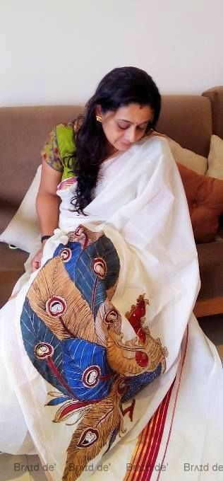 PEN KALAMKARI ON KERALA SAREE