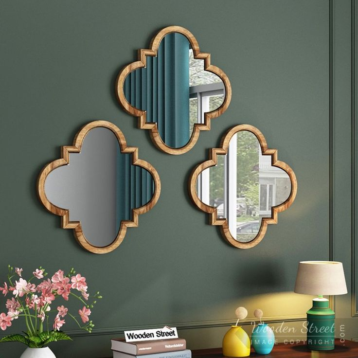 Buy Fleur Decor Set of 3 Mirror With Frame (Natural Finish ...