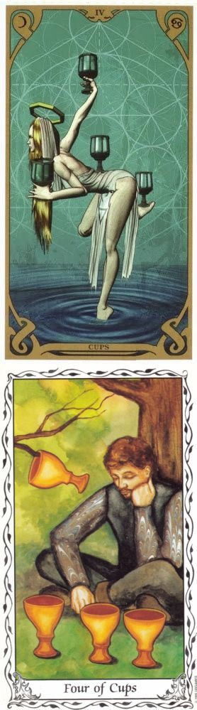 Four of Cups: apathy and aloofness (reverse). Night Sun Tarot deck and Hudes Tarot deck: one card tarot, divination cards vs astrology yes no. New tarot spreads cheat sheets and lenormand cards.