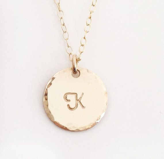 14k Gold Filled Hand Stamped Hammered Edge Initial Necklace by edenzoe