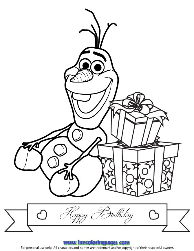 Olaf With Two Birthday Gifts Coloring Page