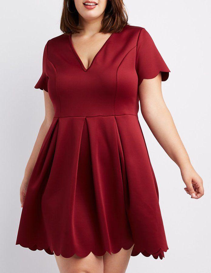 2a2038faed8 Charlotte Russe Plus Size Scalloped V-Neck Skater Dress