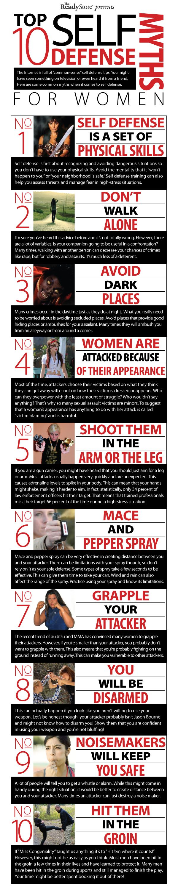 Top 10 Self-Defense Myths - Self-defense is an essential part of being ready and prepared for any situation that may be foolish enough to face you! There are so many myths floating around the Internet about self-defense, that we decided to create this graphic about some common self-defense myths!