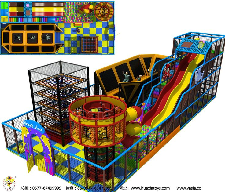 Indoor Trampoline park with rope cour