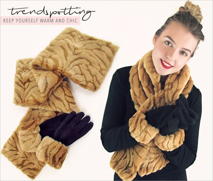 Pull-Through Scarf in Faux Fur & Matching Cuffed Gloves   Sew4Home
