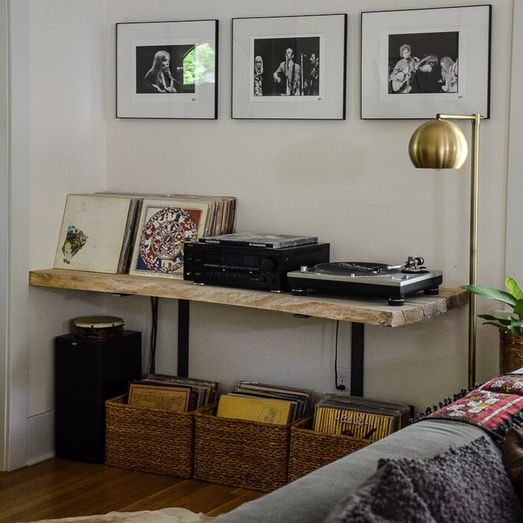 Music nook with live edge table to hold record player and vinyl