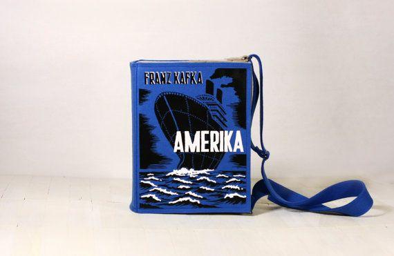 Book Purse Kafka Amerika  Blue Felt Bag