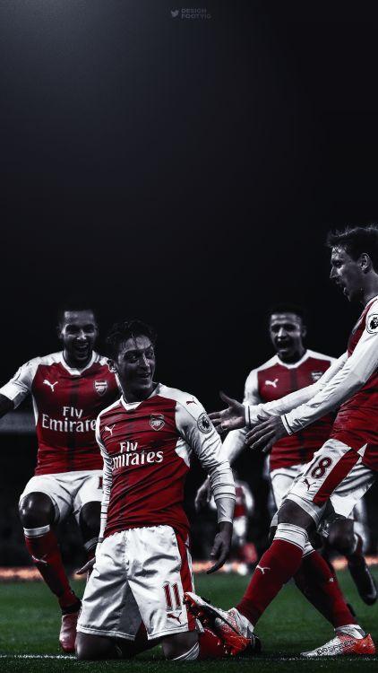 Walcott, Özil, Alexis, Monreal.  Lock screen.