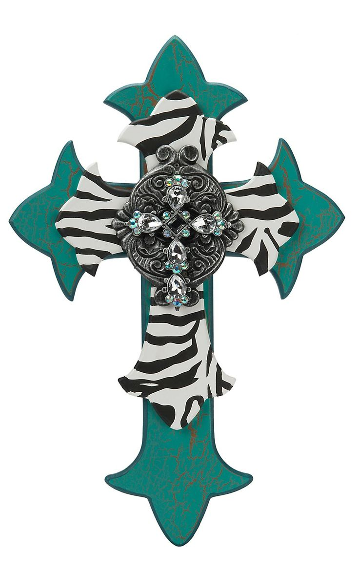 M&F Turquoise & Zebra Decorative Wooden Multi-Dimensional Wall Cross | Cavender's