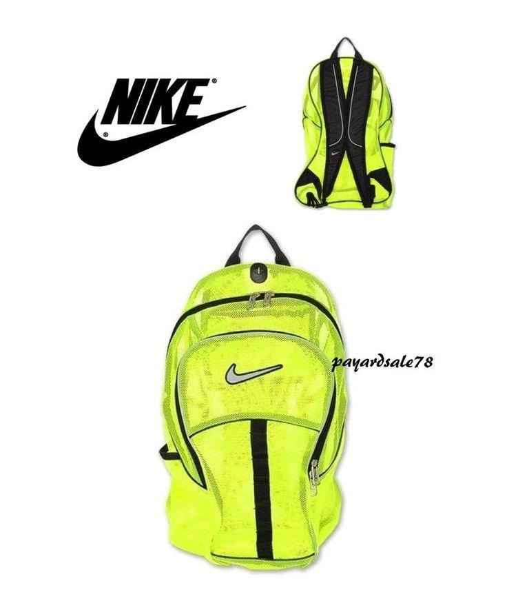 LARGE NIKE MESH BACKPACK BAG SPORTS GYM TRAVEL SCHOOL DAY PACK CAMP VOLT BLACK #Backpack