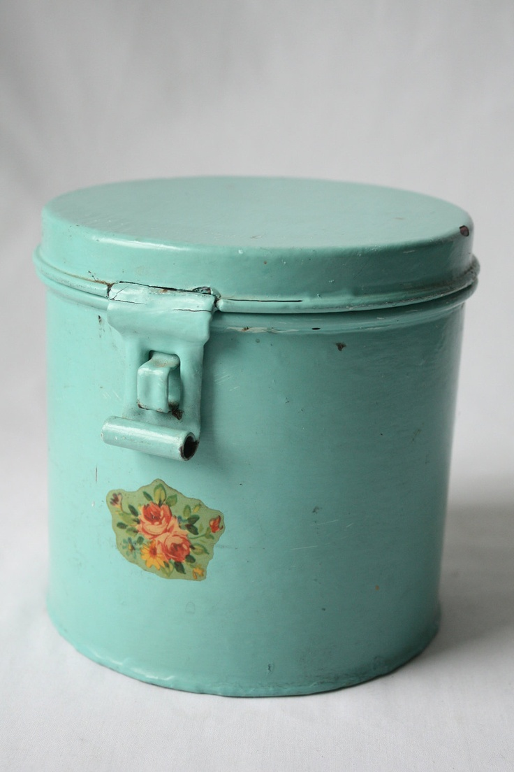 106 best vintage canisters images on pinterest vintage canisters metal canister in aqua blue turquoise with vintage decal latch hinged lid