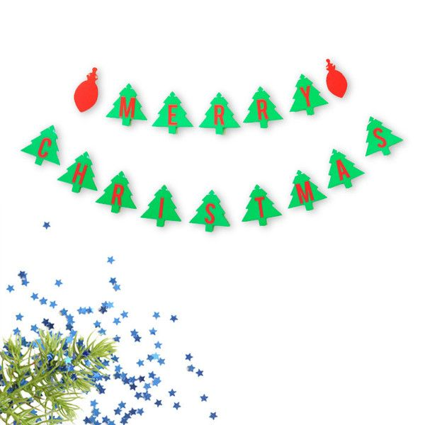 Merry Christmas Banner. Holiday home decoration. Christmas trees and ornaments.