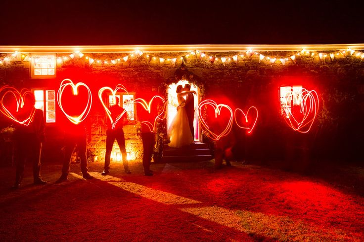 Wedding photo ideas. Done with slow exposure and red LED torches. Love :)