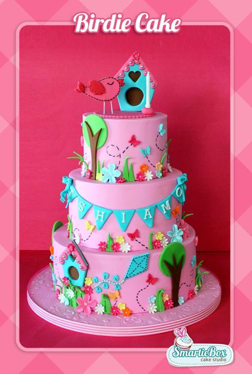 Birdie Cake with birdhouse and garden scene