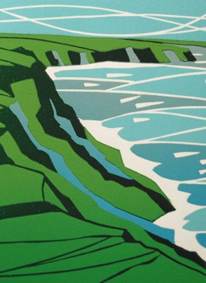 Lynne Roebuck's stunning linocut. Looks like the Central Coast near Hearst Castle after the rainy season.