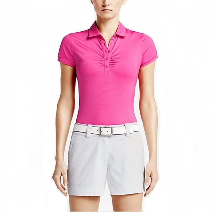 Nike Ladies Dri-Fit Mini Stripe Golf Polo Shirt Pink X-Small 828285-616. Dri-FIT fabric wicks sweat away to keep you dry and comfortable. Body-mapping seams and stretch fabric for contoured comfort. Feminine look and feel with seams that shape to the body. 5 button placket with fold over collar. Cap sleeves and vented hem for enhanced fit.
